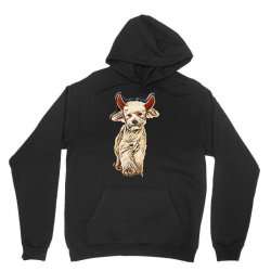 funny bichon dressed as devil for halloween stepping on white backgrou Unisex Hoodie | Artistshot