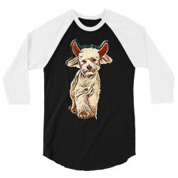 funny bichon dressed as devil for halloween stepping on white backgrou 3/4 Sleeve Shirt | Artistshot