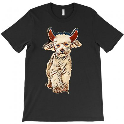 Funny Bichon Dressed As Devil For Halloween Stepping On White Backgrou T-shirt Designed By Kemnabi