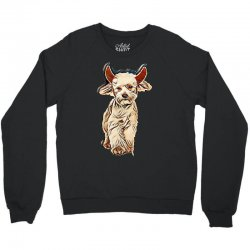 funny bichon dressed as devil for halloween stepping on white backgrou Crewneck Sweatshirt | Artistshot