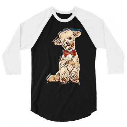 Adorable Elegant Bichon With Red Bowtie Winking While Sitting On White 3/4 Sleeve Shirt Designed By Kemnabi