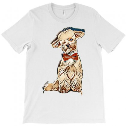 Adorable Elegant Bichon With Red Bowtie Winking While Sitting On White T-shirt Designed By Kemnabi
