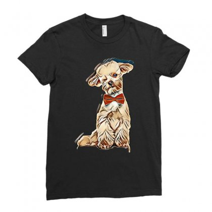 Adorable Elegant Bichon With Red Bowtie Winking While Sitting On White Ladies Fitted T-shirt Designed By Kemnabi