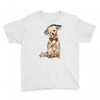 Adorable Elegant Bichon With Red Bowtie Winking While Sitting On White Youth Tee Designed By Kemnabi