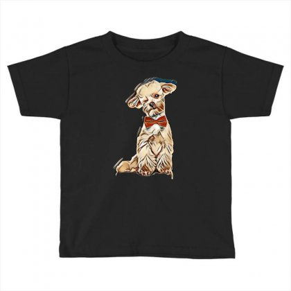Adorable Elegant Bichon With Red Bowtie Winking While Sitting On White Toddler T-shirt Designed By Kemnabi