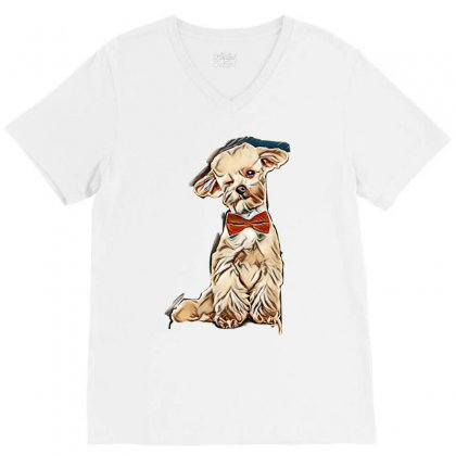 Adorable Elegant Bichon With Red Bowtie Winking While Sitting On White V-neck Tee Designed By Kemnabi