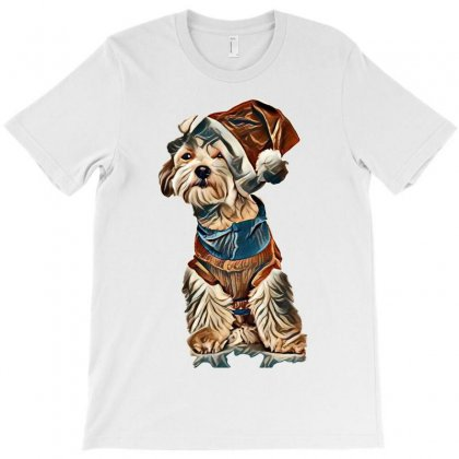 Funny Little Bichon With Santa Cap On One Ear Sitting On White Backgro T-shirt Designed By Kemnabi