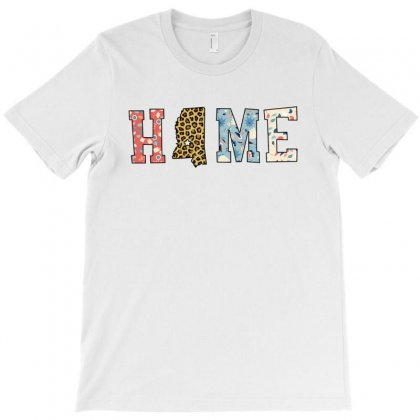 Home State Mississippi Map With Floral Pattern And Leopard Texture T-shirt Designed By Artees Artwork