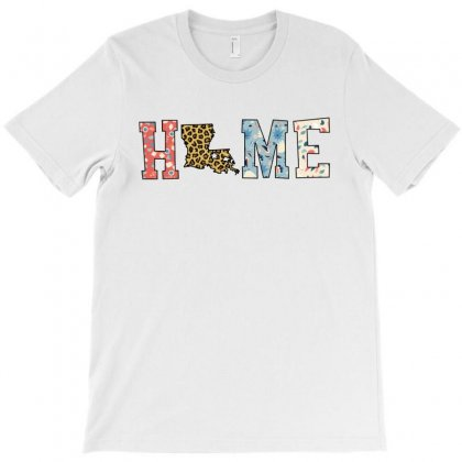 Home State Louisiana Map With Floral Pattern And Leopard Texture T-shirt Designed By Artees Artwork