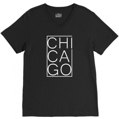 Chicago White Version V-neck Tee Designed By Equinetee