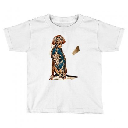 Studio Portrait Of An Expressive German Shorthaired Pointer Dog Agains Toddler T-shirt Designed By Kemnabi