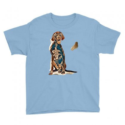 Studio Portrait Of An Expressive German Shorthaired Pointer Dog Agains Youth Tee Designed By Kemnabi