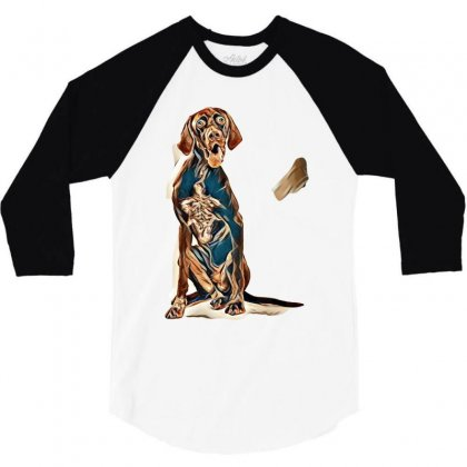 Studio Portrait Of An Expressive German Shorthaired Pointer Dog Agains 3/4 Sleeve Shirt Designed By Kemnabi
