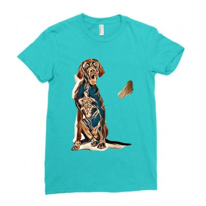 Studio Portrait Of An Expressive German Shorthaired Pointer Dog Agains Ladies Fitted T-shirt Designed By Kemnabi