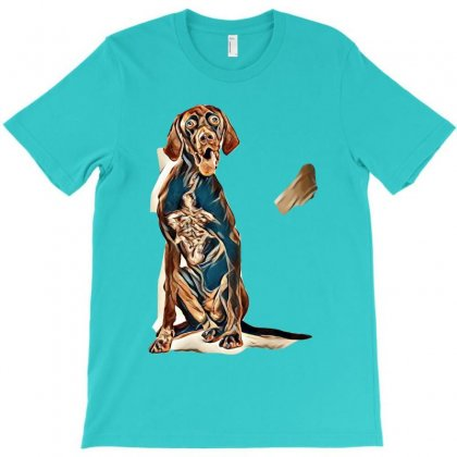 Studio Portrait Of An Expressive German Shorthaired Pointer Dog Agains T-shirt Designed By Kemnabi