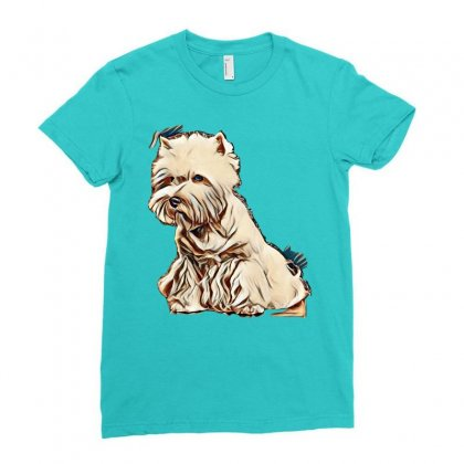 West Highland White Terrier Dog  Isolated  On Black Background In Stud Ladies Fitted T-shirt Designed By Kemnabi