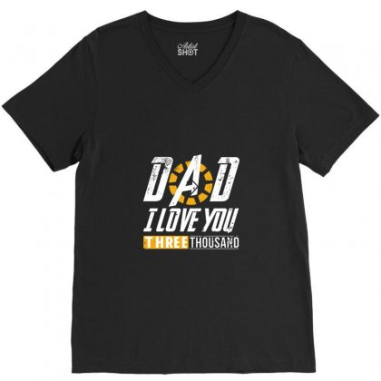 I Love You Three Thousand V-neck Tee Designed By Mdk Art