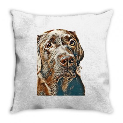 Brown Labrador Dog In Front Of A Colored Background Throw Pillow Designed By Kemnabi