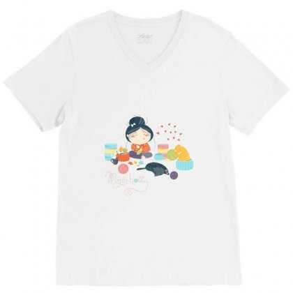 Hobby V-neck Tee Designed By Disgus_thing
