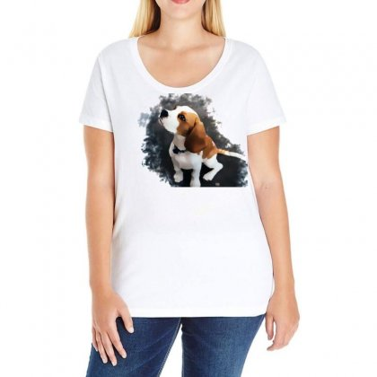 Dog Watercolor Animal Artistic Ladies Curvy T-shirt Designed By Salmanaz