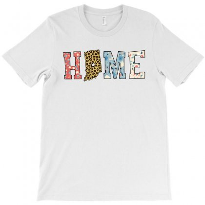 Home State Indiana Map With Floral Pattern And Leopard Texture T-shirt Designed By Artees Artwork