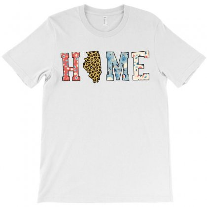 Home State Illinois Map With Floral Pattern And Leopard Texture T-shirt Designed By Artees Artwork
