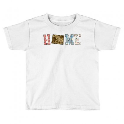 Home State Wyoming Map With Floral Pattern And Leopard Texture Toddler T-shirt Designed By Artees Artwork