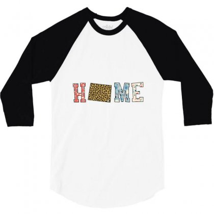 Home State Wyoming Map With Floral Pattern And Leopard Texture 3/4 Sleeve Shirt Designed By Artees Artwork