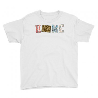 Home State Wyoming Map With Floral Pattern And Leopard Texture Youth Tee Designed By Artees Artwork