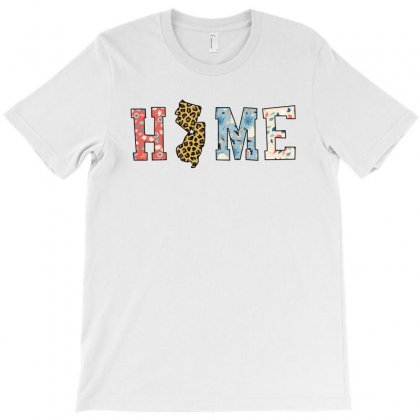 Home State New Jersey Map With Floral Pattern And Leopard Texture T-shirt Designed By Artees Artwork