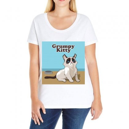 Grumpy Kitty Cat Mieze Pet Animal Portrait Ladies Curvy T-shirt Designed By Salmanaz
