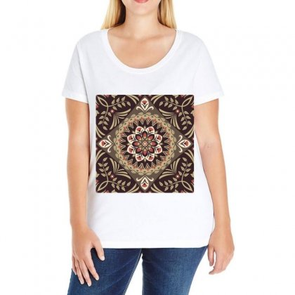 Seamless Pattern Floral Flower Copy Ladies Curvy T-shirt Designed By Salmanaz