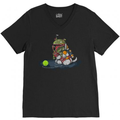 Space Dog V-neck Tee Designed By Teesclouds