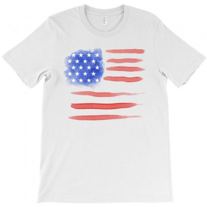 Watercolor America Flag T-shirt Designed By Akin