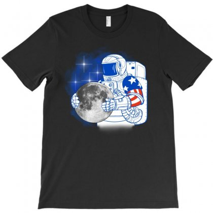 American Astronaut Moon T-shirt Designed By Akin