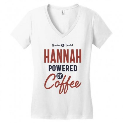 Hannah Powered By Coffee Women's V-neck T-shirt Designed By Cidolopez