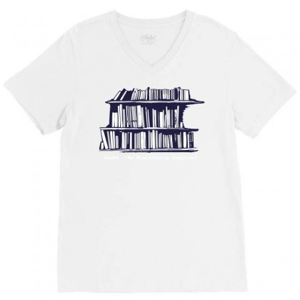 Library Booksa V-neck Tee Designed By Teesclouds