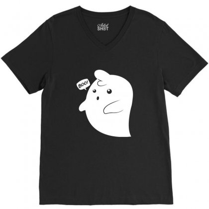 Ghost Boo! V-neck Tee Designed By Teesclouds