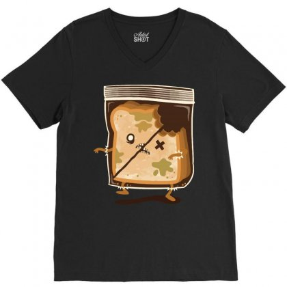 Bread Zombie V-neck Tee Designed By Teesclouds