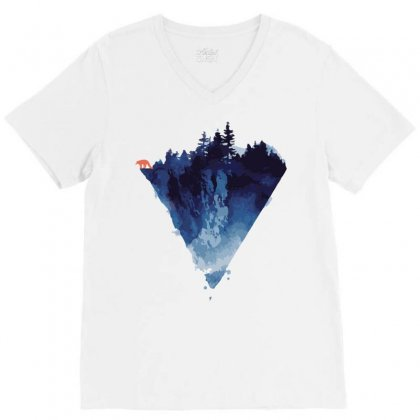 Bear Mount V-neck Tee Designed By Teesclouds