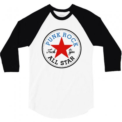 Punk Rock All Star For Light 3/4 Sleeve Shirt Designed By Balqis Tees