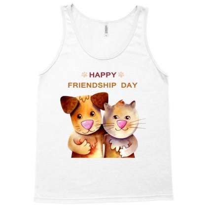 Dog And Cat   Happy Friendship  Day Cartoon T-shirt Tank Top Designed By Tudtoojung