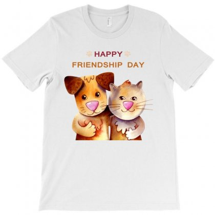 Dog And Cat   Happy Friendship  Day Cartoon T-shirt T-shirt Designed By Tudtoojung