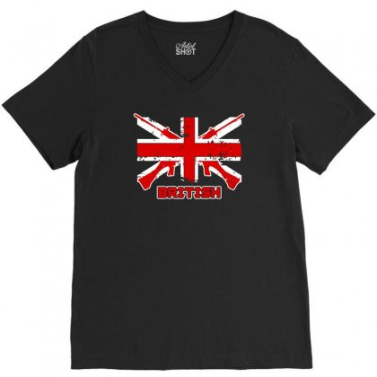 British Flag V-neck Tee Designed By Satrio Art