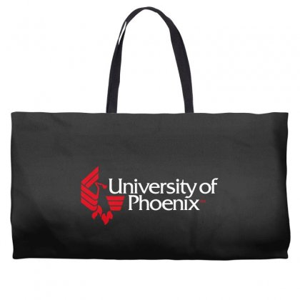University Of Phoenix   White Red Weekender Totes Designed By Balqis Tees