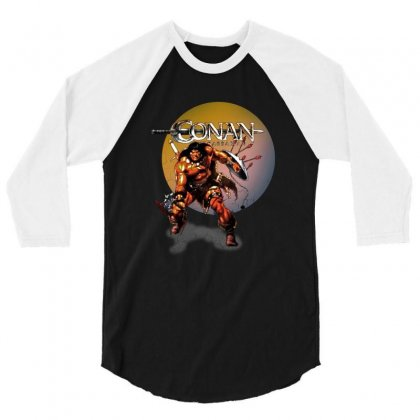 Conan The Barbarian 3/4 Sleeve Shirt Designed By Allison Serenity