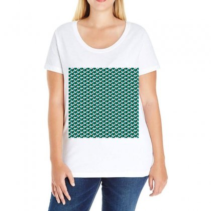 Pattern Green Blue Grey Hues Ladies Curvy T-shirt Designed By Salmanaz