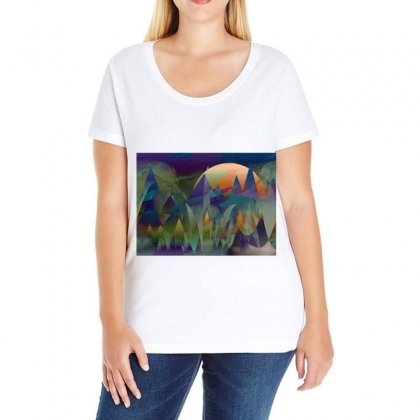 Mountains Abstract Mountain Range Ladies Curvy T-shirt Designed By Salmanaz
