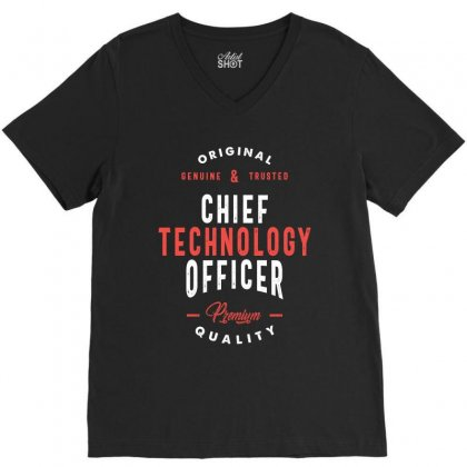 Chief Technology Officer V-neck Tee Designed By Cidolopez