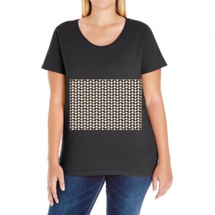 Coffee Beans Pattern Illustrator Ladies Curvy T-shirt Designed By Salmanaz